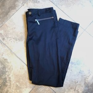 Michael Kors Navy Izzy Zipper Pocket Pants
